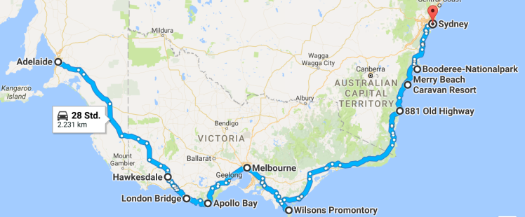 Route Adelaide - Sydney